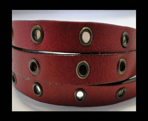 Vegetable tanned leather with hollow rivets - 10MM-SE-Dark Red