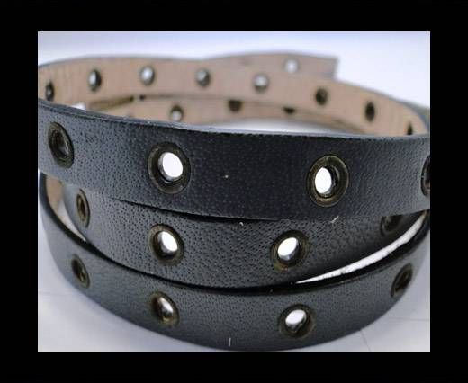 Vegetable tanned leather with hollow rivets - 10MM-SE-Grey