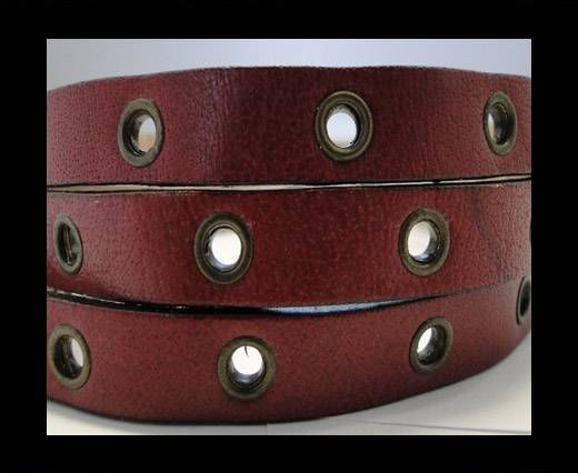 Vegetable tanned leather with hollow rivets - 10MM-SE-Pink