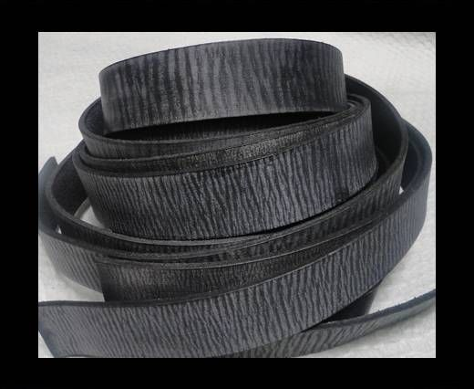 Vintage Style Flat Leather - 20mm-Vintage Black
