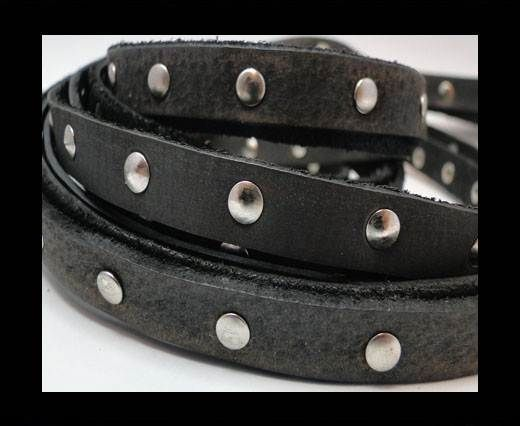 Vintage Style Flat Leather Studs-Silver-10mm-Black stripes