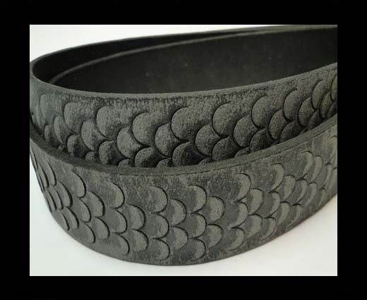 Vintage Style Flat Leather-Fish Style-30mm-Black