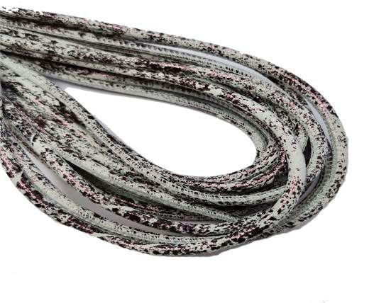 Round Stitched Nappa Leather Cord-4mm-white purple bronze