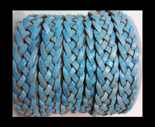 10mm Flat Braided- SE BLUE WITH WHITE BASE  - 5 ply braided Leat