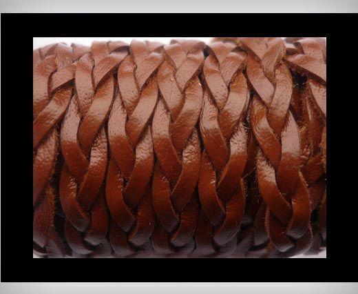 Cuir plat tressé - 15mm - Marron sellerie