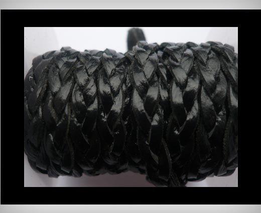Cuir plat tressé - 6mm - Noir