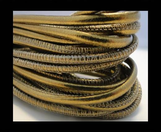 Round stitched nappa leather cord Gold-2,5mm