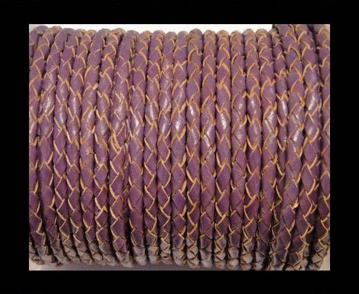 Round Braided Leather Cord SE/B/2004-Purple - 3mm