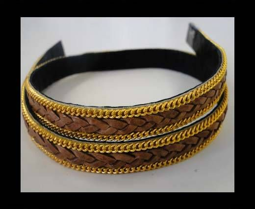 Braided Leather with golden chain-10mm-SE-PB-10