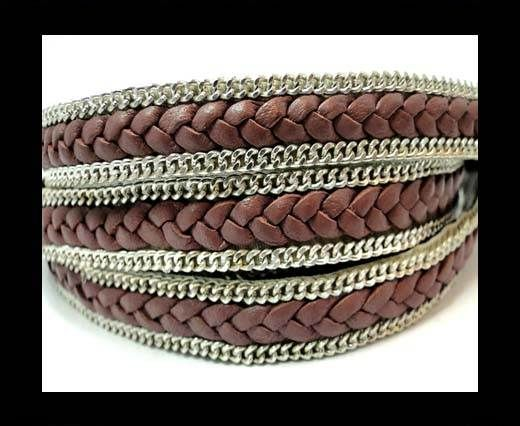 Braided Leather with silver chain-10mm-SE Taupe