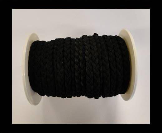 Suédine tressée - Noir - 5mm