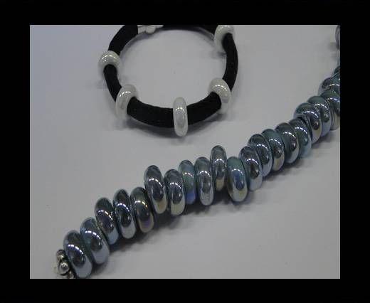 Ceramic beads with hole 6mm style 1-Dark Blue AB
