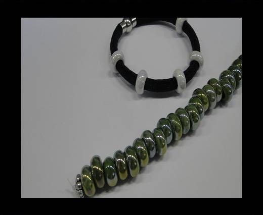 Ceramic beads with hole 6mm style 1-Green AB