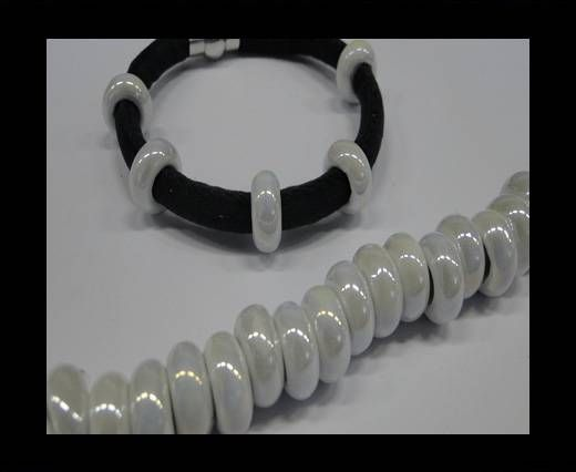 Ceramic beads with hole 6mm style 1-White AB