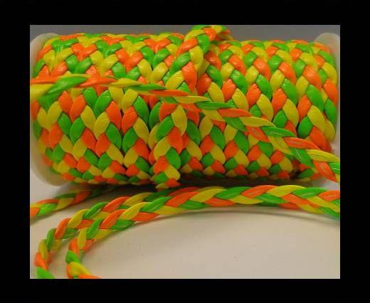 Corde éco plate tressée - Style 6 - 8mm - Fluo multicolore vert
