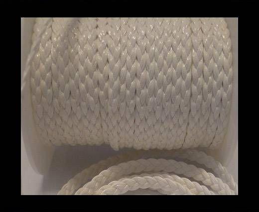 Cuir éco plat tressé - 5mm - Blanc