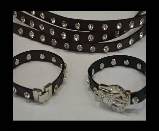 Eco Leather with Crystal 10mm-Dark Brown