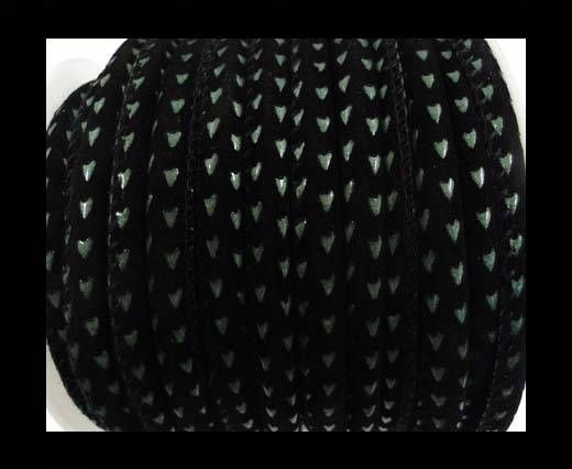 Eco nappa leather Parshute style-6mm-black with green