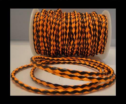Cuir éco rond tressé - 4mm - Orange fluo et noir