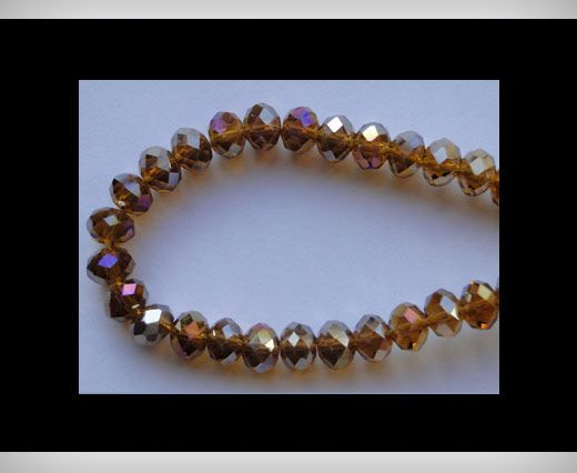 Faceted Glass Beads-8mm-Mokka-AB