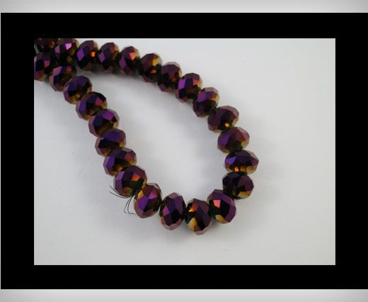 Faceted Glass Beads-18mm-Metallic Ameythst