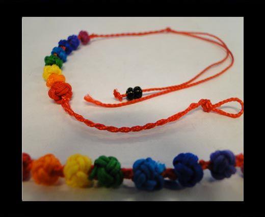 Bracelet en corde fantaisie - FJ02 - Corde rouge