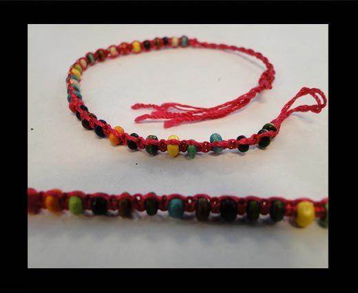 Bracelet en corde fantaisie - FJ03 - Corde rose