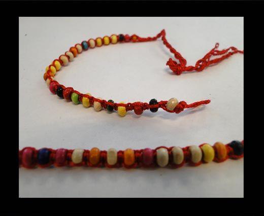 Bracelet en corde fantaisie - FJ03 - Corde rouge