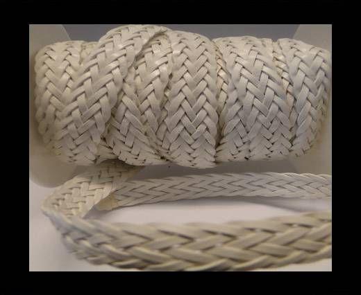 Corde plate tressée - Style 2 - 12mm - Blanc