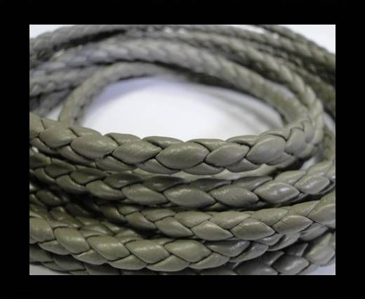 Fine Braided Nappa Leather Cords-6mm-GREY