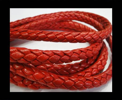 Fine Braided Nappa Leather Cords-8mm-RED