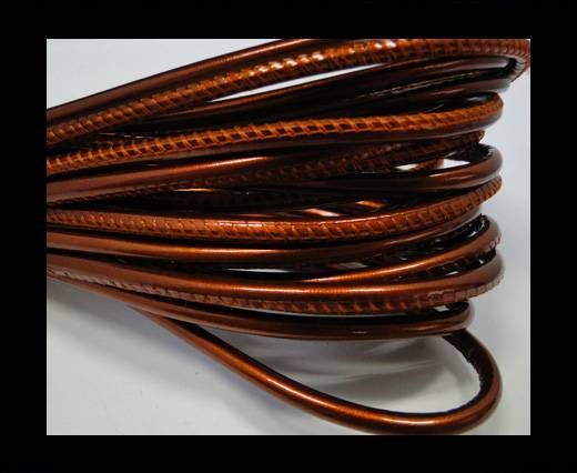Round stitched nappa leather cord Dark orange -4mm