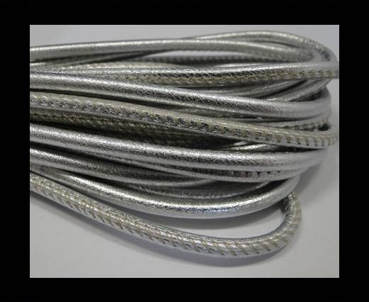 Round stitched nappa leather cord Metallic Silver  -4mm
