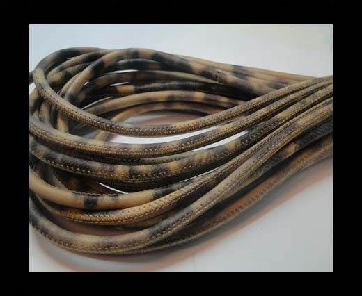 Round stitched nappa leather cord Leopard - 4mm
