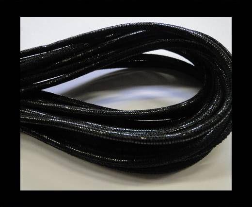 Fine Nappa-Lizard style-4mm-black + paillettes transparent