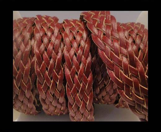 Corde plate tressée - Style 4 - 18mm - Bordeaux