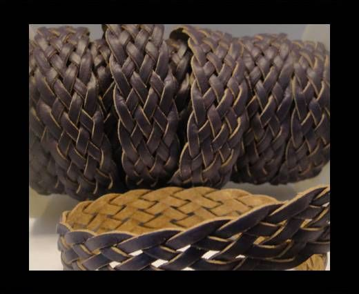 Corde plate tressée - Style 4 - 18mm - Violet