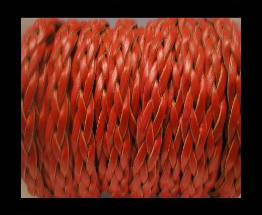 Corde plate tressée - Style 3 - 10mm - Rouge