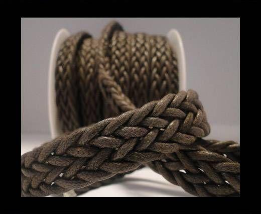 Corde plate tressée - Special style - 16mm - Café