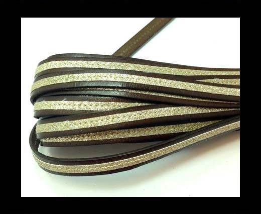Flat Leather- With Glitter -10mm- Brown Glitter Gold