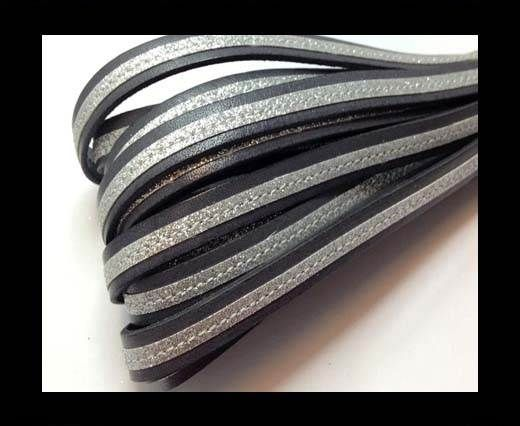Flat Leather- With Glitter -10mm- Grey Glitter Silver