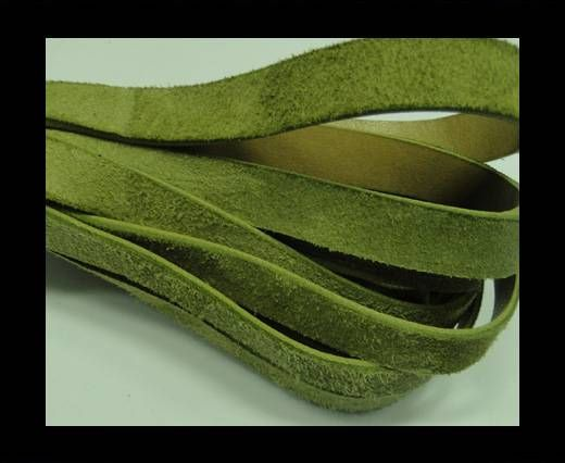 Flat Leather Cord Suede -10mm-Moss