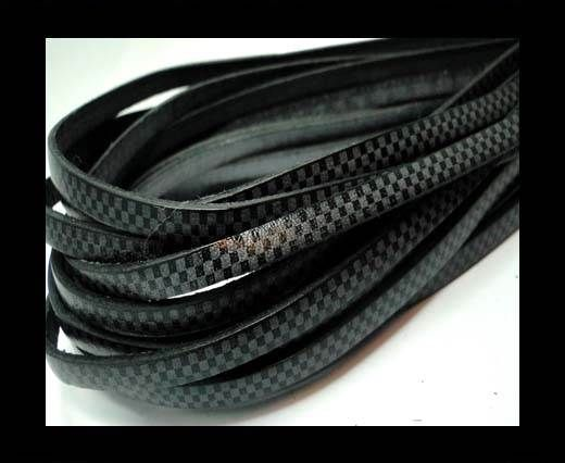 Flat Leather Cords - Chess Style - 5mm-Grey
