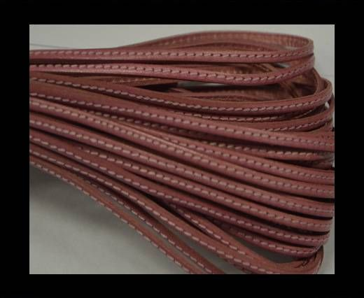 Flat leather with stitch - 3 mm - Pink