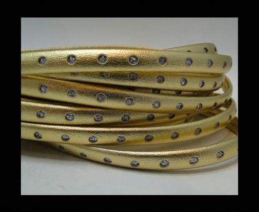 Flat Nappa with Glitter-Half Round-8MM-gold