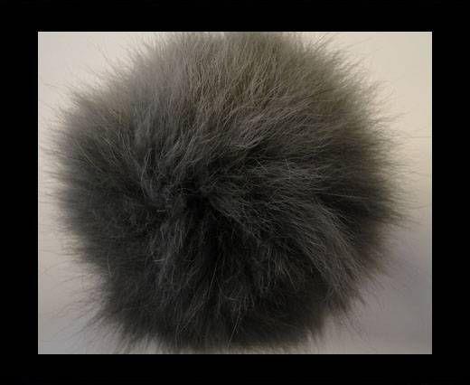 Pompon en fourrure de renard - 14cm - Gris foncé