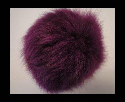 Pompon en fourrure de renard - 14cm - Violet foncé