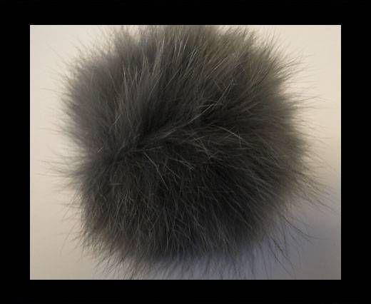 Pompon en fourrure de renard - 14cm - Gris clair