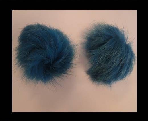 Pompon en fourrure de renard - 10cm - Bleu Bermudes