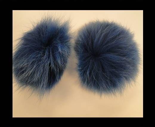 Pompon en fourrure de renard - 10cm - Bleu foncé